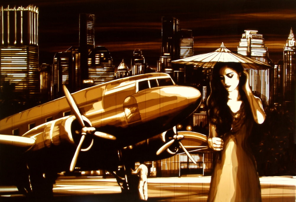"Street artist Max Zorn created the artwork ""Nightflight from Bangkok"" only with brown packing tape in Bangkok Thailand. It was later auctioned at Tajan for a record price"