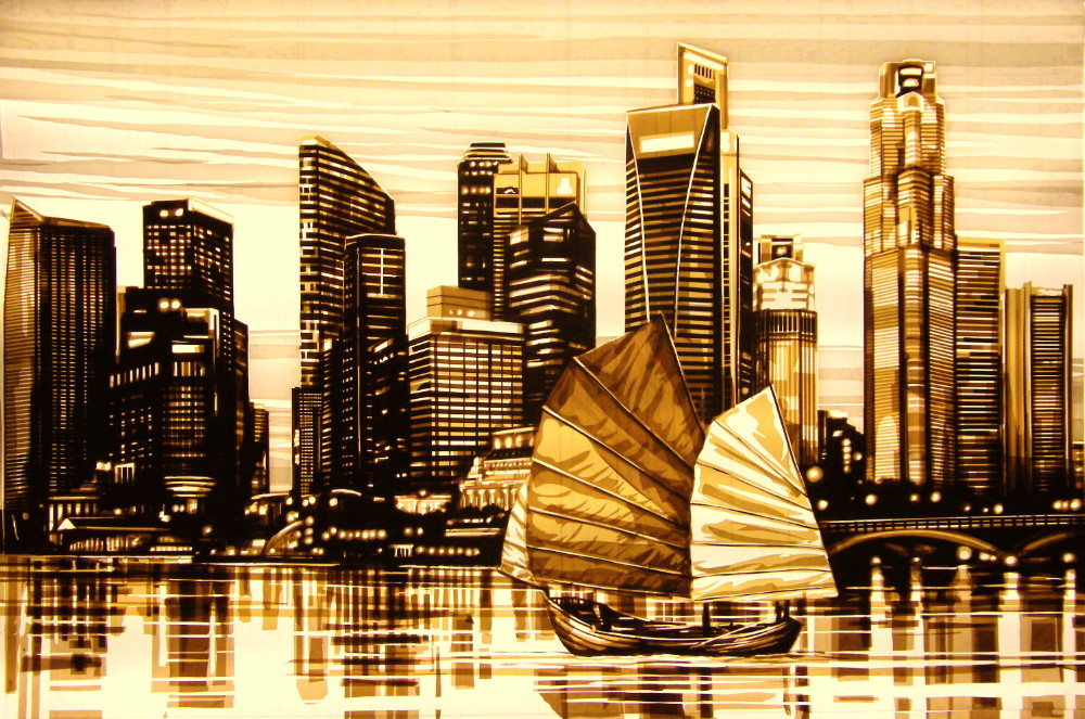 This tape artwork by Max Zorn is made with brown packing tape, depicting the skyline of Singapore, lights mirroring in the water, a boat is sailing through the harbor. All is made with packing tape by Max Zorn